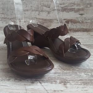 Predictions Shoes - ⚀Predictions Brown Leather Wedge Sandal